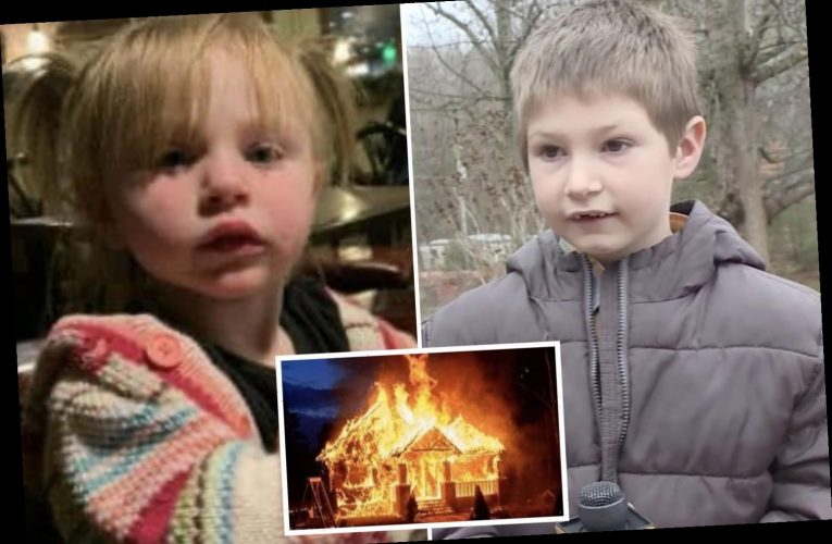 Boy, 7, climbs into his burning family home through a window to save his baby sister as he 'didn't want her to die'