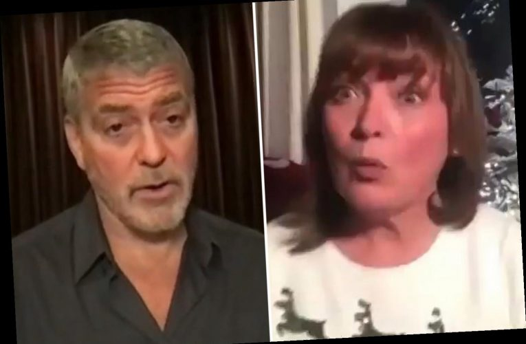 Lorraine Kelly stunned as George Clooney serenades her on her 61st birthday while she relaxes in her slippers