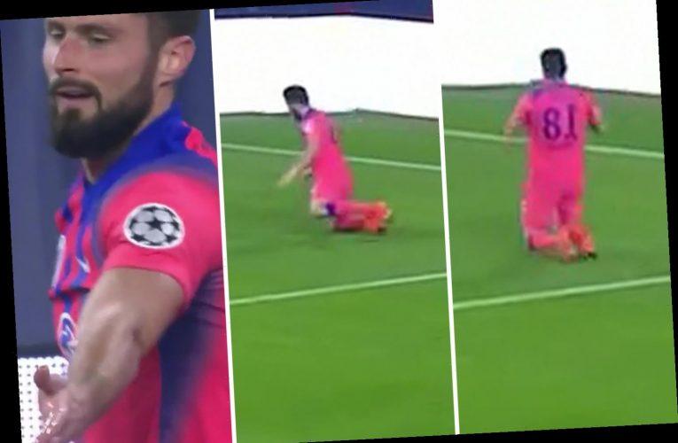 Watch Olivier Giroud mess up Chelsea knee-slide celebration in only negative in brilliant four-goal display vs Sevilla