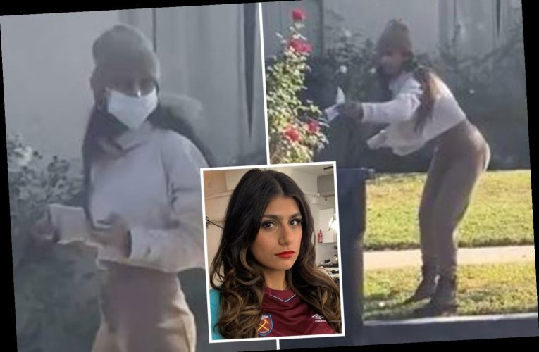 Ex-porn star Mia Khalifa caught using a face mask to pick up dog poo & putting it back on… but not all is as it seems