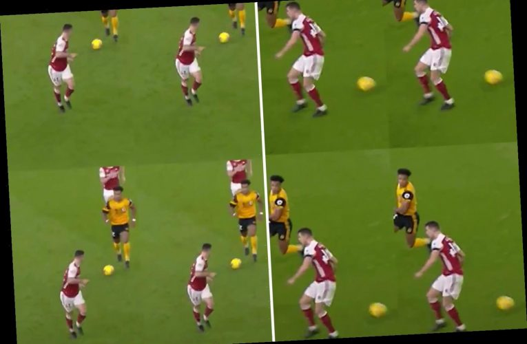 Granit Xhaka's defending mocked by Wolves in savage TikTok video showing Arsenal star trying to stop Adama Traore
