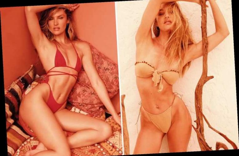 Candice Swanepoel shows off her slender figure in swimwear from her own brand