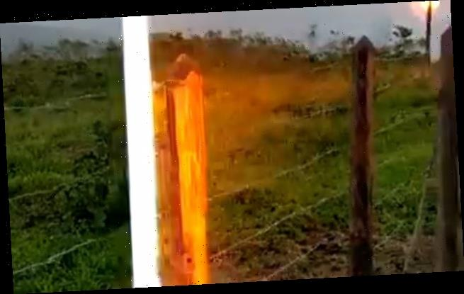 Shocking footage: Moment man is struck by lightning