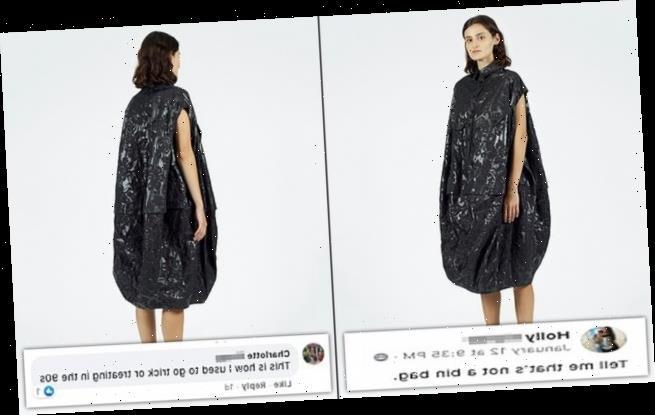 Puffy dress made by NU mocked because it looks like a BIN BAG