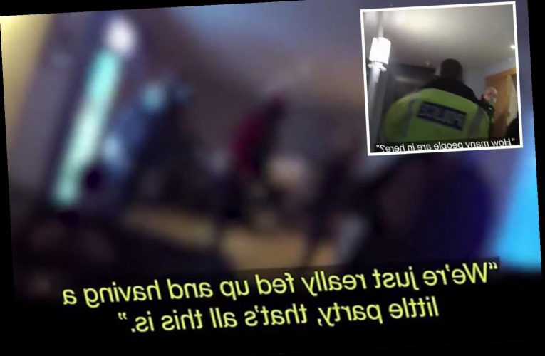 Moment cops storm illegal lockdown party and fine 26 'ridiculous' poker players in apartment