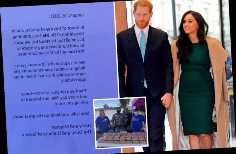 Martin Luther King Jr Day: Meghan Markle and Prince Harry thank veterans for service as they donate lunch to volunteers
