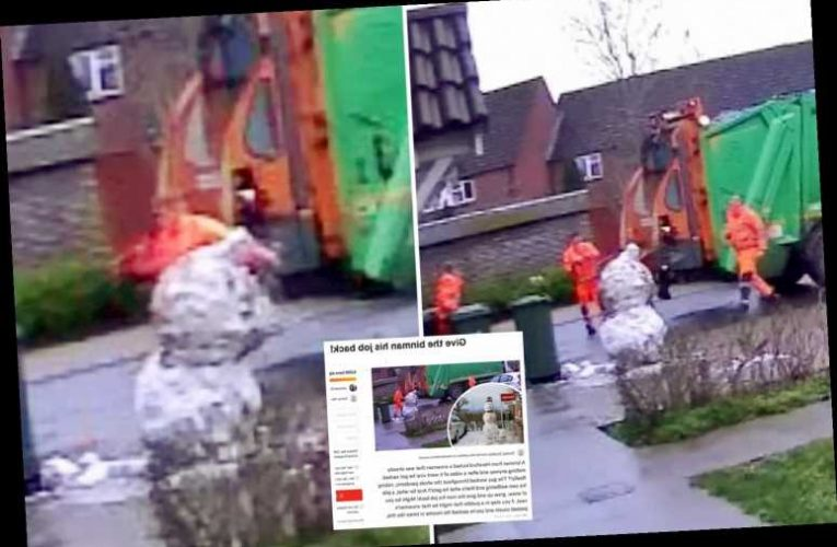5,000 people sign petition demanding binman sacked for kicking head off kid's snowman is given job back