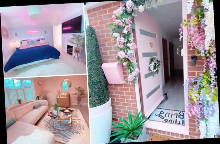 Mum-of-four transforms old, tired-looking home into all-pink pad with neon lights and disco ball in her shower