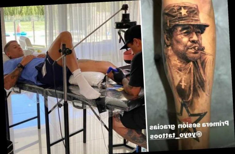 Man Utd defender Marcos Rojo leaves team-mates stunned with huge tattoo of Diego Maradona posing as Fidel Castro on leg