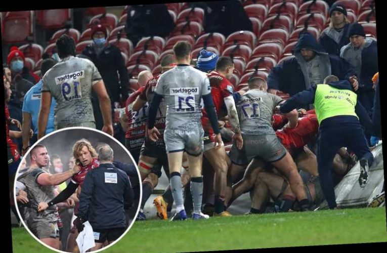 Watch ex-England star Billy Twelvetrees spark 30-man brawl which spills into stands during Gloucester clash with Sale