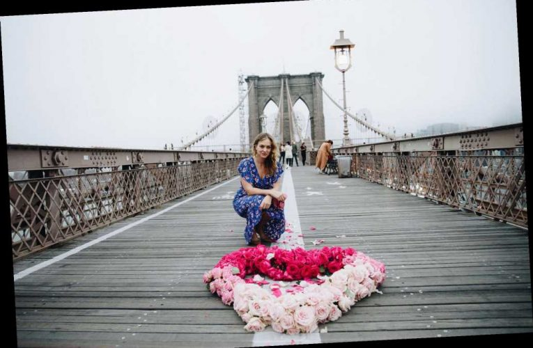 Artist Kristina Libby honors COVID-19 victims with flower hearts around NYC