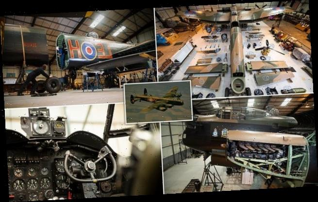 Engineers lay out WWII Lancaster bomber like giant AIRFIX model