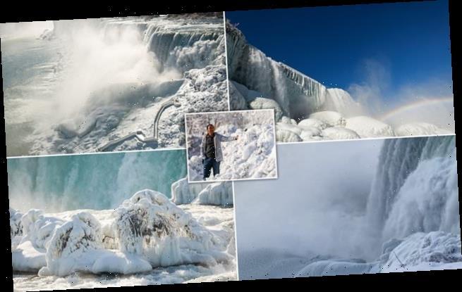 Niagara Falls partially FREEZES creating spectacular displays of ice