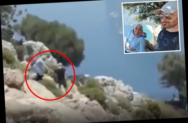 Chilling moment 'killer husband lures pregnant wife to rocky cliff edge for selfie before pushing her off'