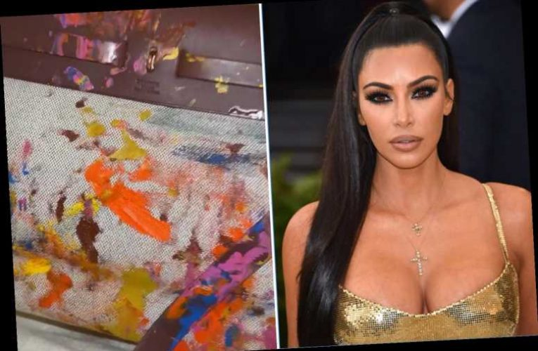 Kim Kardashian shows off Hermes bag North painted as a baby after slamming skeptics of daughter's mountain painting