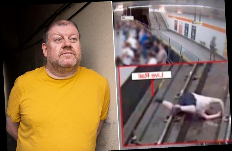 Horrifying CCTV shows man left moments from death after being headbutted onto train track