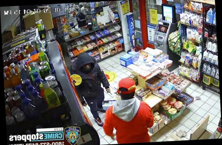 Bronx gas station robbed at knifepoint by two men, video shows