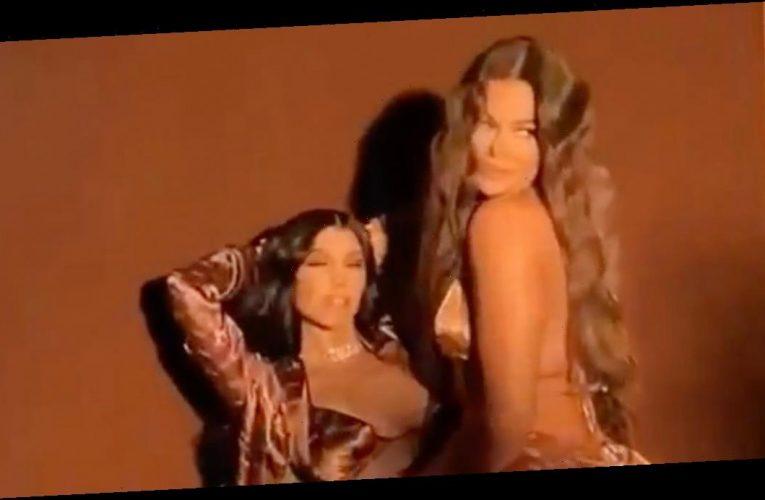 Khloe Kardashian gives sister Kourtney a lap dance in raunchy clip