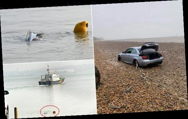 BMW convertible gets stuck in mud before being swallowed by tide