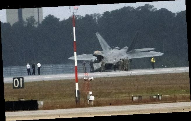 F-22 stealth fighter crashes nose down on at Eglin Air Force base