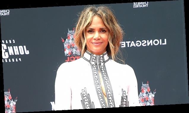 Halle Berry Rocks Mesh Dress & Thigh-High White Boots While Sipping Wine In Her Backyard