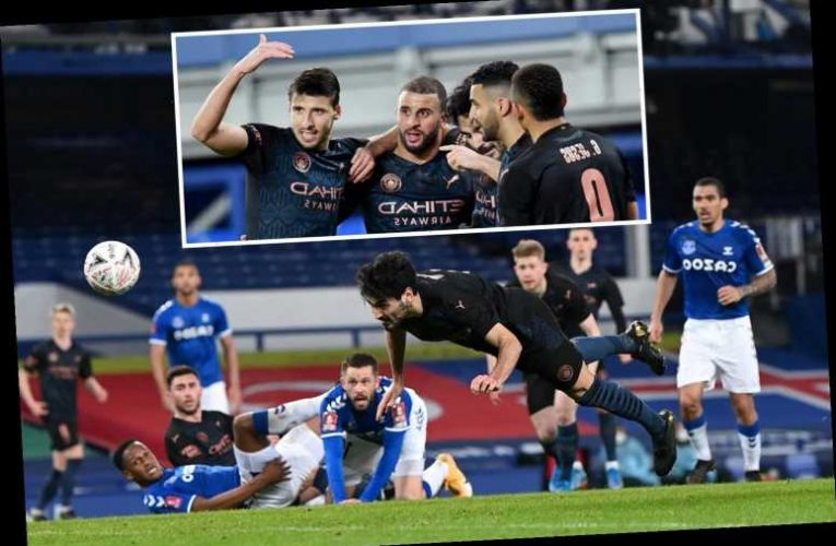 Everton 0 Man City 2: Guardiola's side made to work for it but Gundogan & De Bruyne strike late to keep quadruple alive