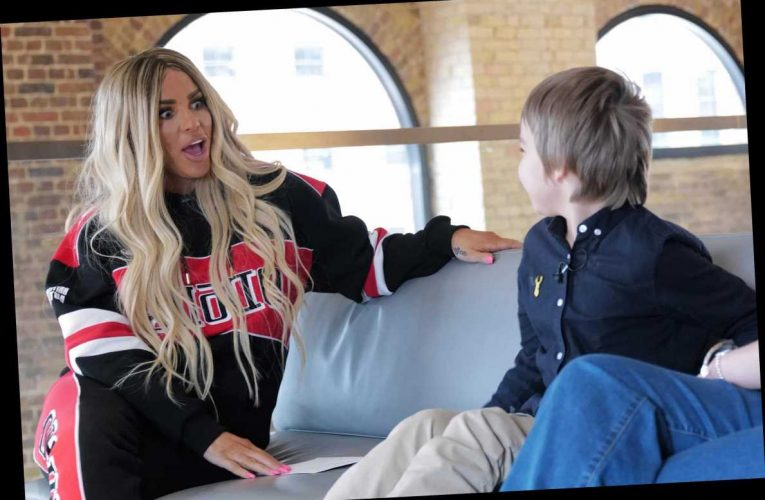 Katie Price meets cyberbullying victim after Harvey's battle with trolls in first job with Channel 4