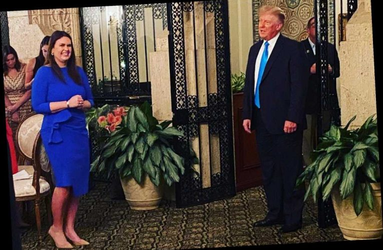 Trump makes surprise stop at campaign event for Sarah Huckabee Sanders
