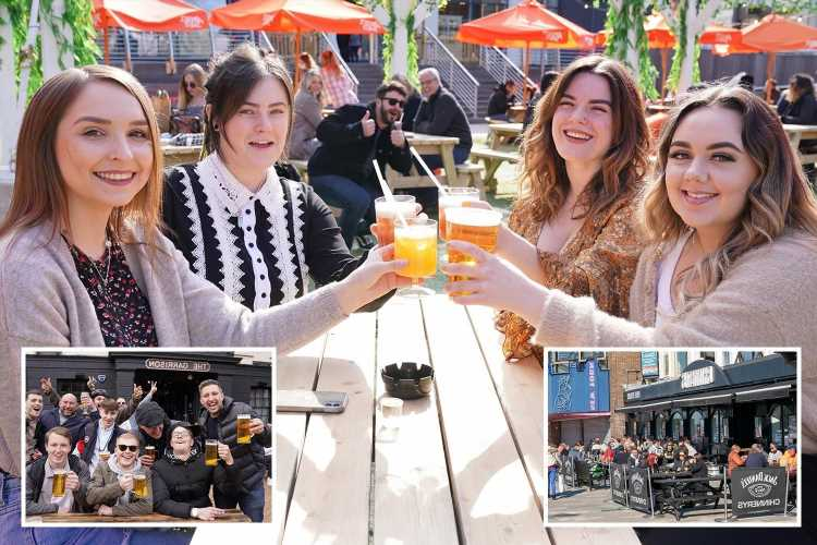 Beaming Brits pack beer gardens and outdoor restaurants for first weekend of freedom since Covid lockdown rules lifted