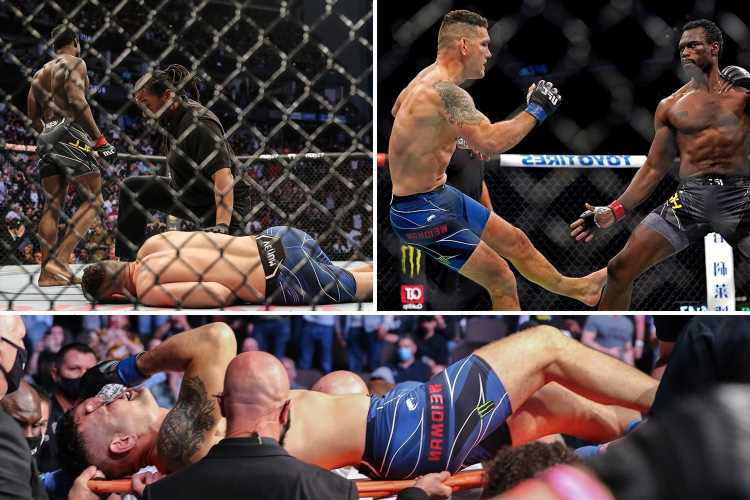 Chris Weidman suffers horror leg break in UFC 261 clash vs Uriah Hall and is stretchered out of arena