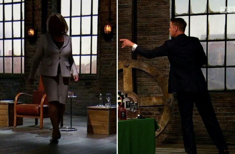Deborah Meaden storms off Dragons' Den and snaps 'leave him to it' at gobsmacked Peter Jones