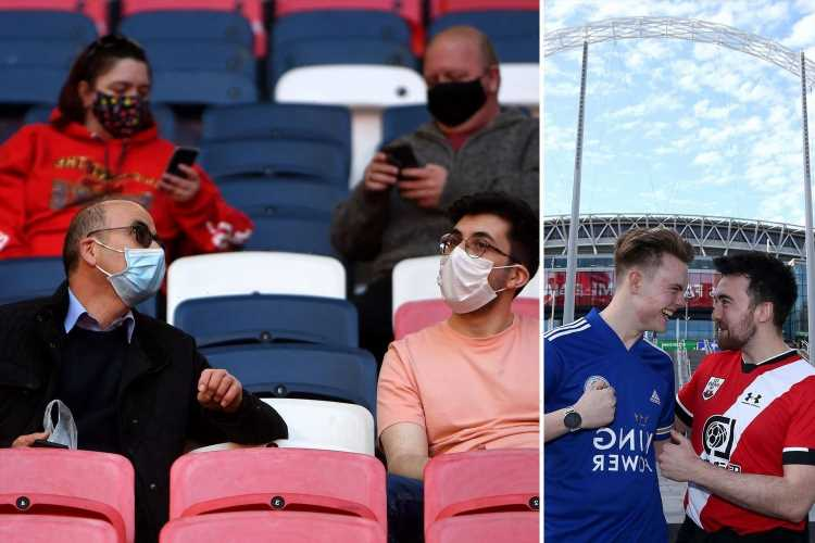 Fans finally return to football as select 4,000 spectators watch FA Cup semi-final at Wembley in test event