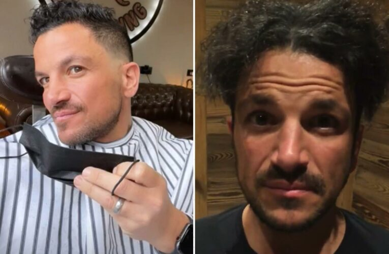 Peter Andre finally gets his hair cut as he visits his brother's salon