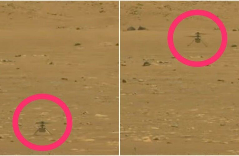 Photos from NASA's Perseverance rover show the Ingenuity helicopter flying on Mars for the first time