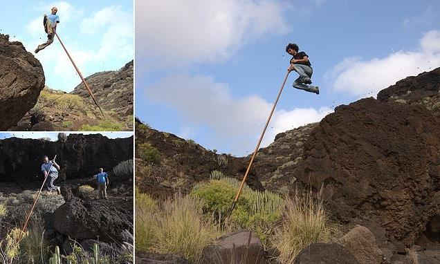 Pictured: The daring Canary Islands' folk sport 'shepherd's leap'