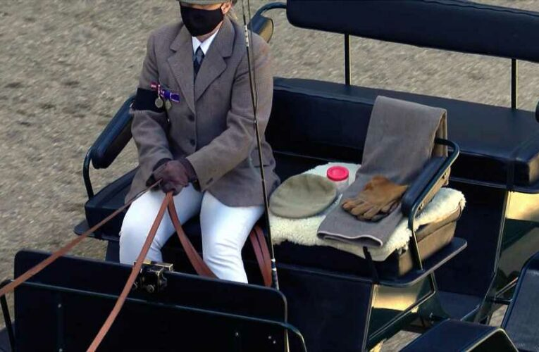 What is the red pot in the carriage in the quadrangle used for at the Duke of Edinburgh's funeral?