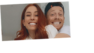 Stacey Solomon shows off Joe Swash's bulge as he jumps around in tight onesie