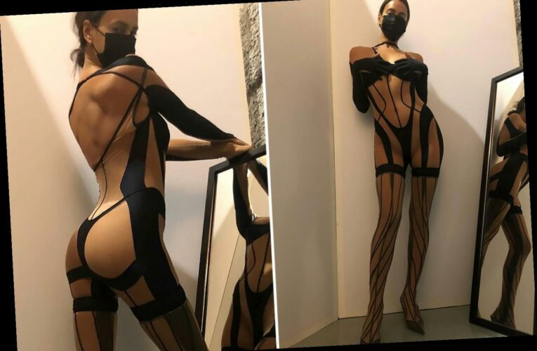 Irina Shayk shows off her incredible figure in sheer black thong bodysuit and facemask
