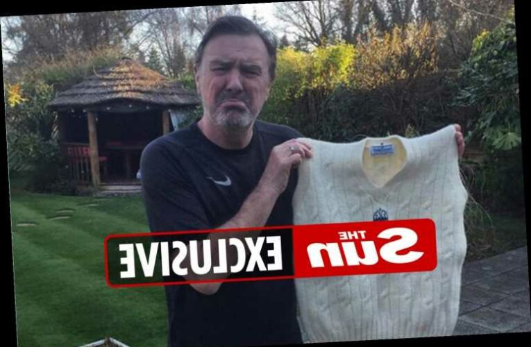 Cricket legend Phil Tufnell's first Test match jumper is shrunk in the wash by his wife