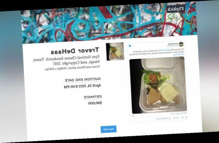 Viral tweet of sad Fyre Fest sandwich is up for auction as an NFT
