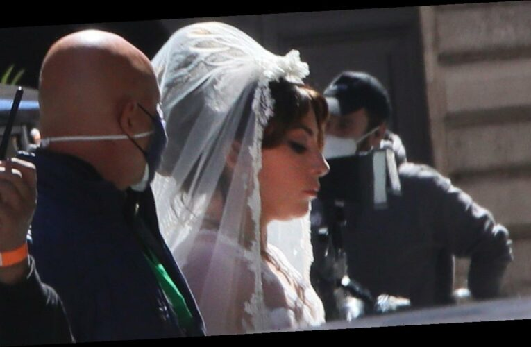 Lady Gaga Is a Blushing Bride on Set of 'House of Gucci': PICS