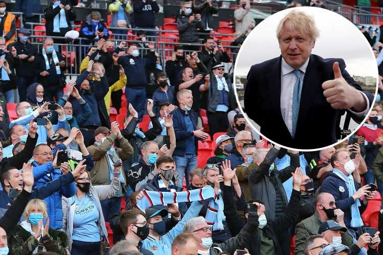 Boris Johnson confirms fans can return from May 17 with up to 10,000 supporters allowed back into stadiums
