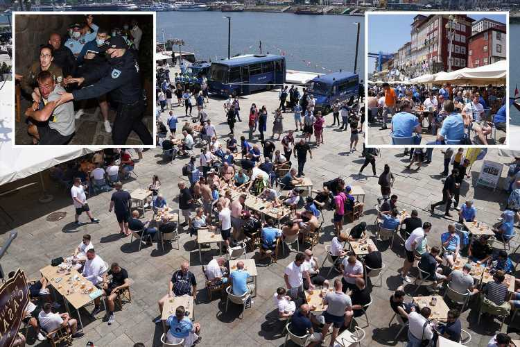 Chelsea & Man City fans pack out bars & down pints in sunny Porto ahead of Champions League final after violent clashes