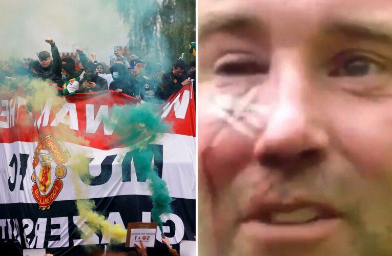 Cops investigating Man Utd fans' Old Trafford protest arrest man, 25, after officer left with broken eye socket and nose