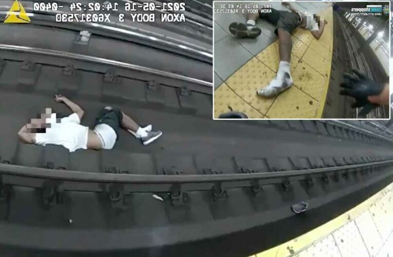 Hero NYPD transit cops save man who collapsed on subway tracks