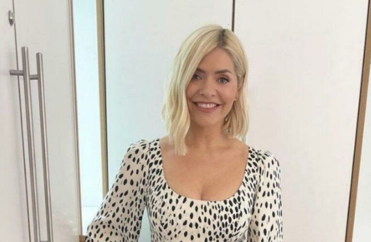 Holly Willoughby stuns in cheetah print dress with thigh high slit for This Morning duties