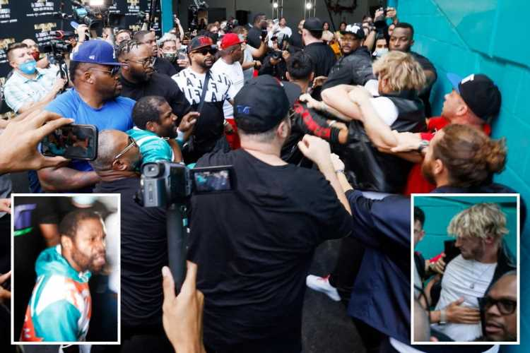 Jake Paul and Floyd Mayweather throw punches in ugly brawl at press call for boxing legend's fight with Logan Paul