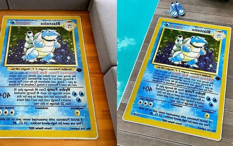Kanto Starter Readies a 'Pokémon' Base Set First Edition Blastoise Rug