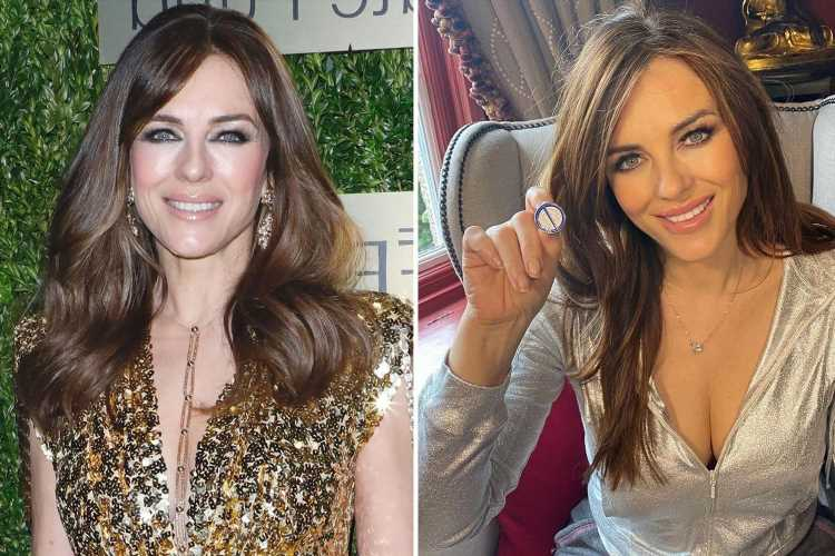 Liz Hurley, 55, poses in a revealing tracksuit as she shows off her badge of honour after having second Covid jab