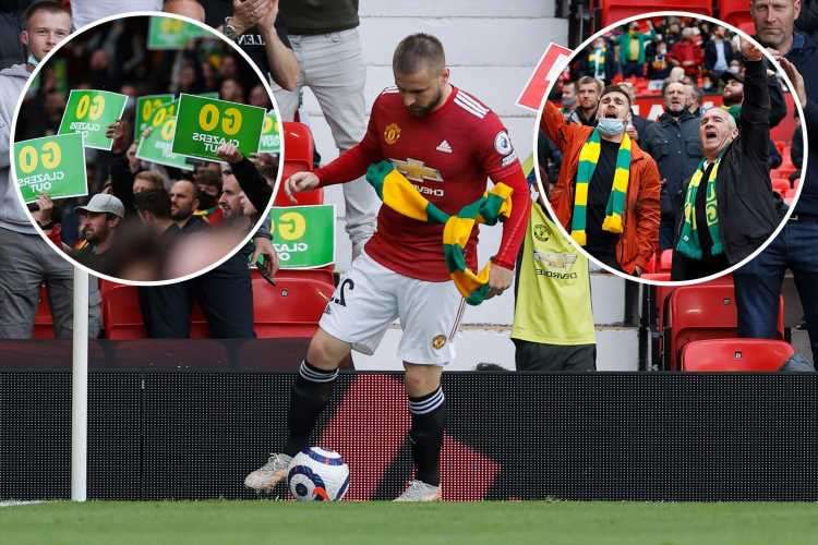 Man Utd fans return to Old Trafford with green & gold scarves as supporters plan 51st-minute anti-Glazer protest